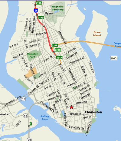 Map of Downtown Charleston SC